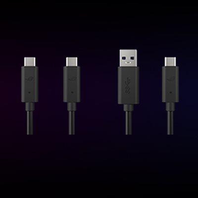 Zwei Kabel für USB-C auf C und USB-C auf A