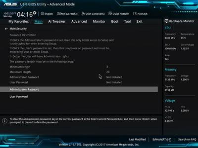 Passworteinstellungen im Asus-BIOS