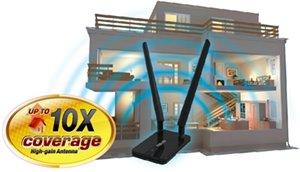 Externe Antenne mit großer Reichweite unterstützt eine bis zu 10x* größere Signalabdeckung